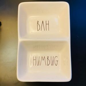 """Rae Dunn """"Bah Humbug"""" two compartment tray."""